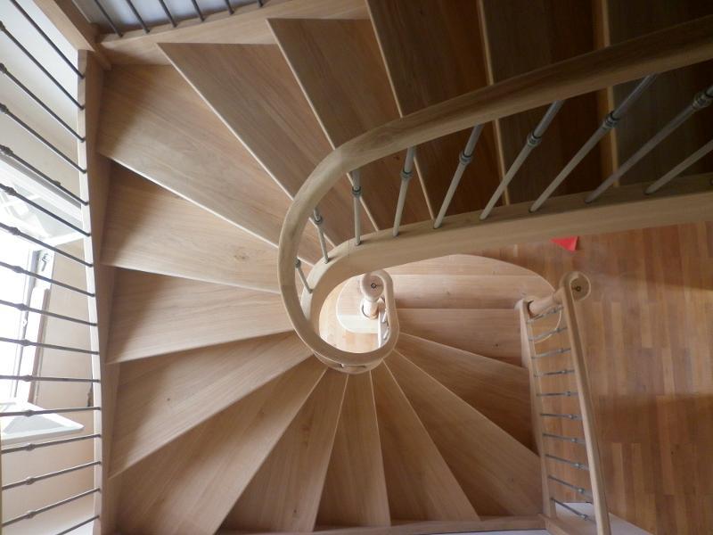 Escalier Trois quarts tournant débillardé en chêne