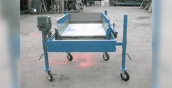 Table de traitement à rouleaux inox pour plants et pommes de terre