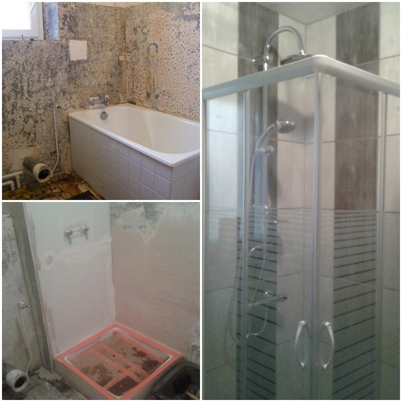 douche à la place d'une baignoire