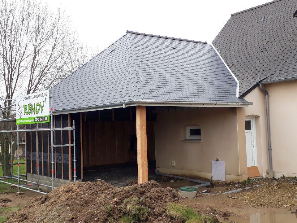 Extension de garage Ossature bois avec couverture Ardoises Fibro