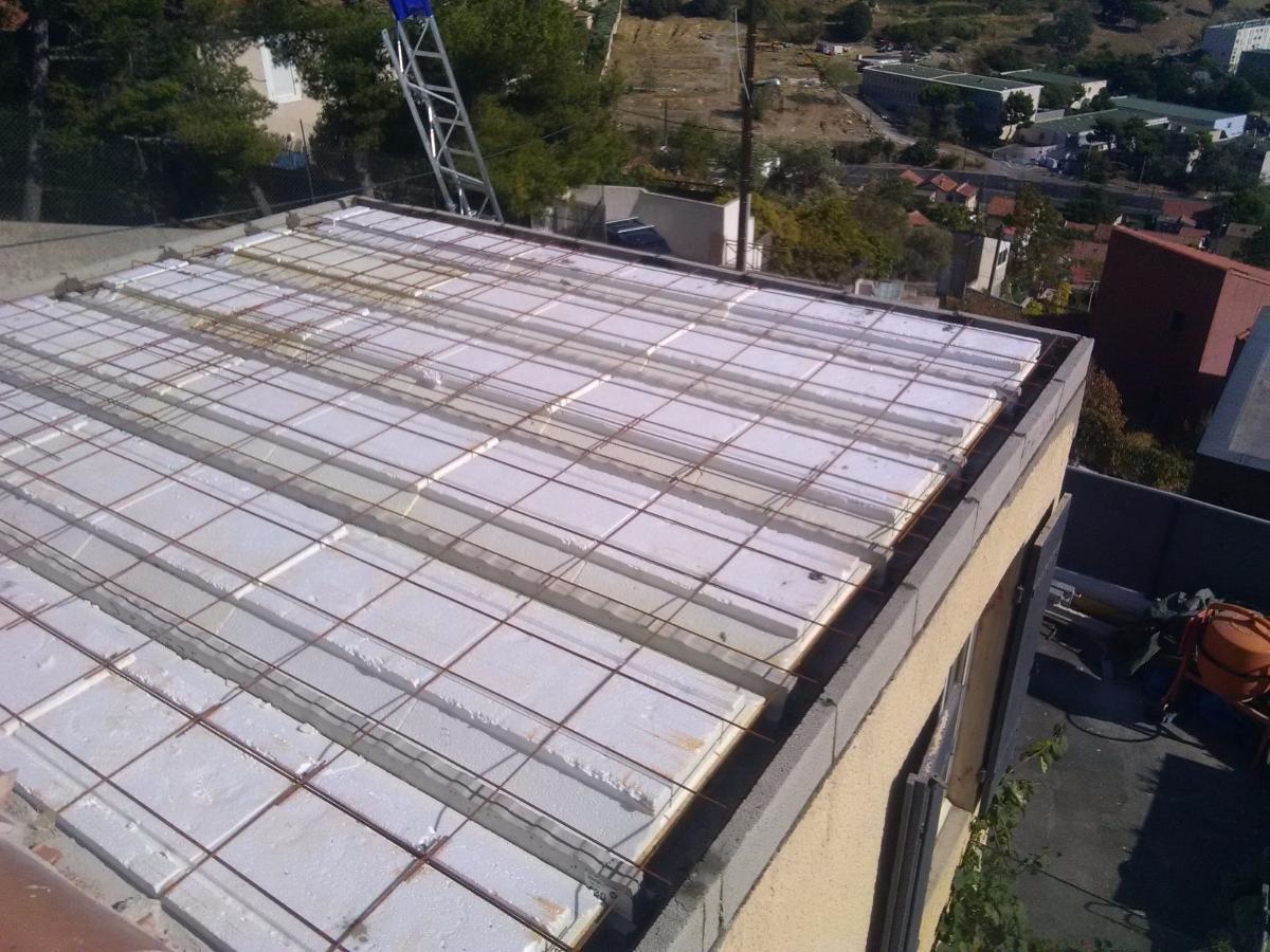 Toit terrasse avec plancher isolant