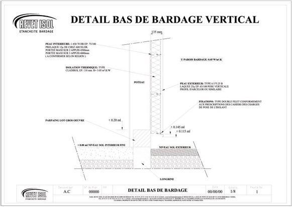 Plan bardage métallique - Revet Isol - Les Lèches (24)