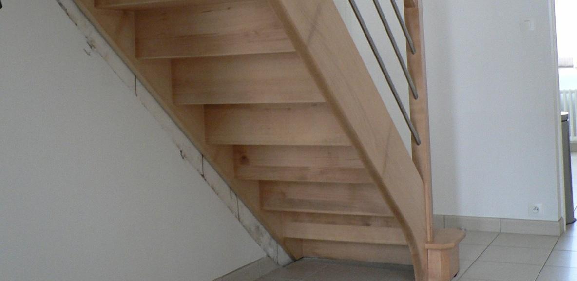 Escalier Hêtre lisse inox