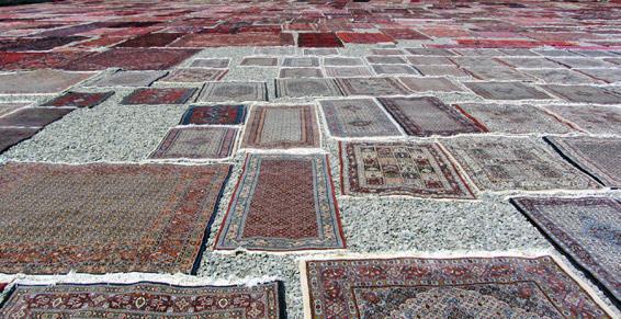Séchage de tapis en plein air