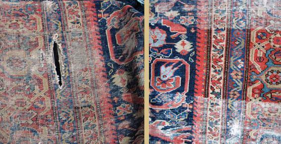 Tapis persan soltanahad XVIIème siècle avant  et après restauration