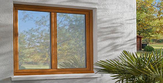 Fenêtre alu Janneau imitation chêne doré